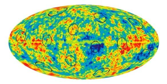 Местоположение шести пар кругов на карте вселенной