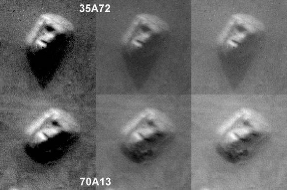 """Первый (35A72) и """"зарытый"""" (70A13) снимки """"Лица Марса"""""""